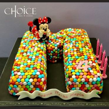 Τούρτα 3D Μονόγραμμα & Minnie Mouse
