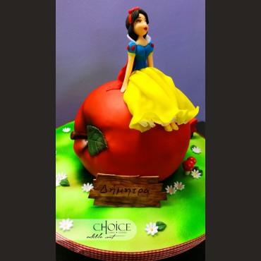Τούρτα 3D Η Χιονάτη και το Μήλο