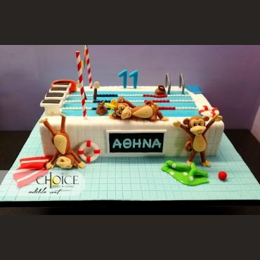 Τούρτα 3D Πισίνα & Μαιμουδάκια