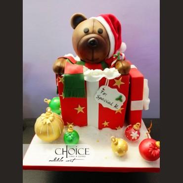 Τούρτα 3D Χριστουγεννιάτικο Δώρο Αρκουδάκι