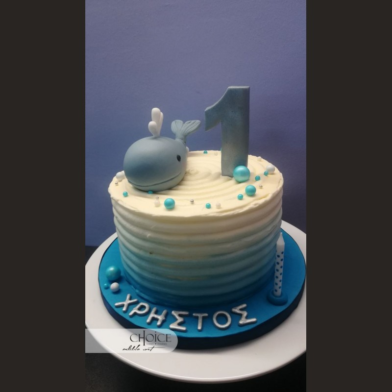 Τούρτα First Birthday Baby Whale
